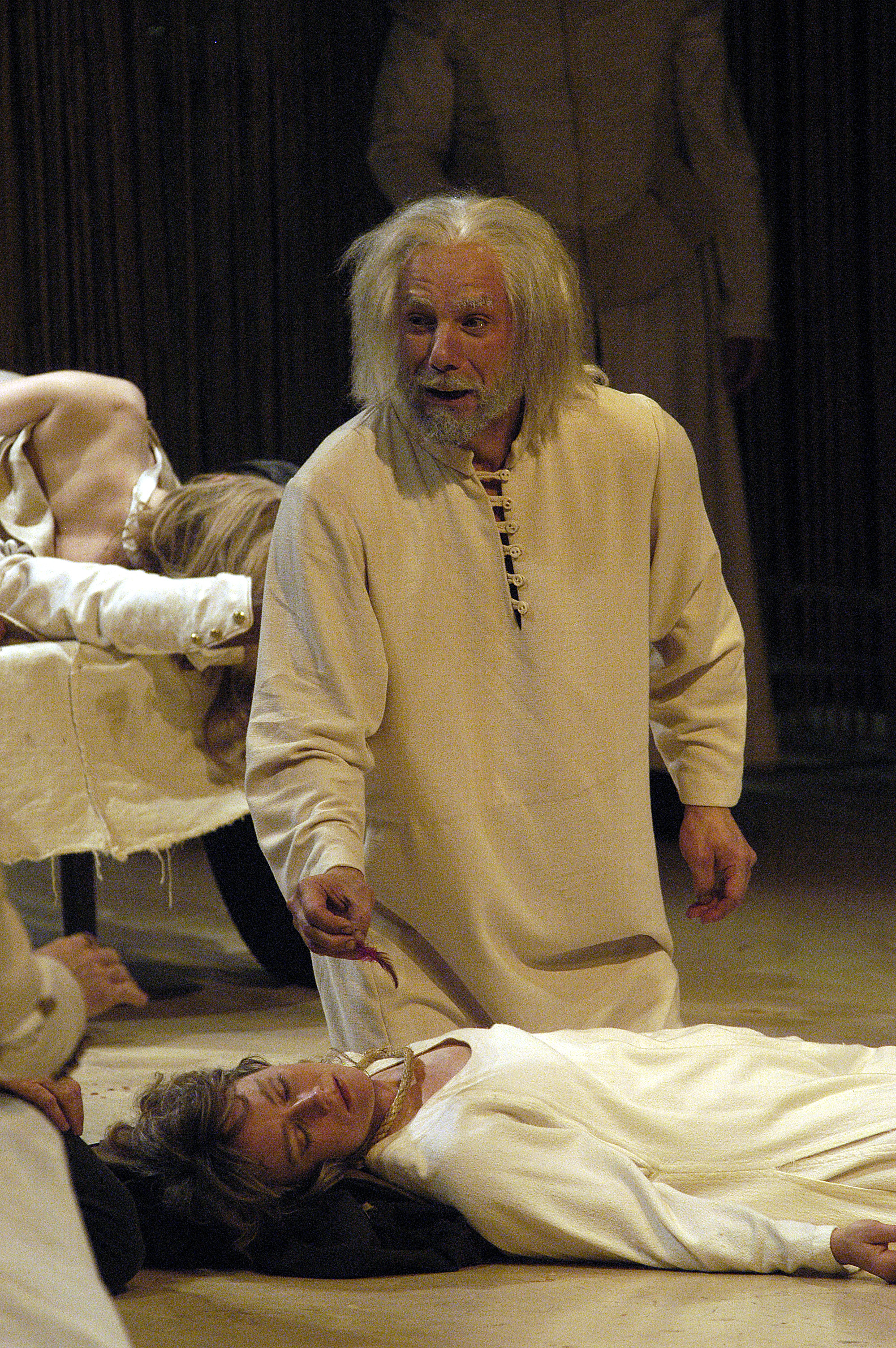 Jonathan Epstein as King Lear grieves over his murdered daughter Cordelia (played by Kristen Wold). King Lear, Shakespeare and Company 2003 Photo by Kevin Sprague